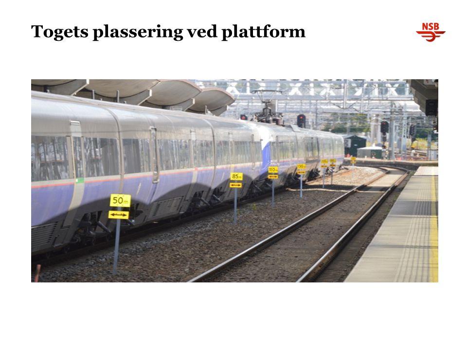 Togets plassering ved plattform