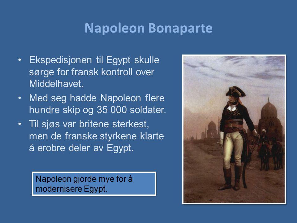 Napoleon Bonaparte Ekspedisjonen til Egypt skulle sørge for fransk kontroll over Middelhavet.