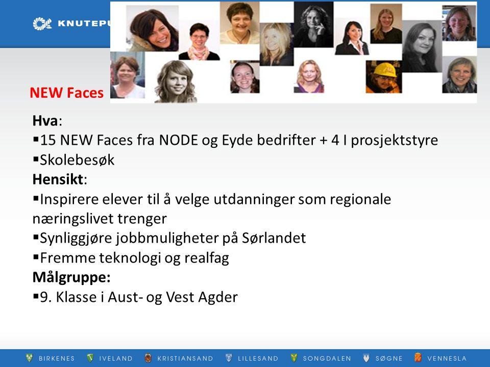 NEW Faces Hva: 15 NEW Faces fra NODE og Eyde bedrifter + 4 I prosjektstyre. Skolebesøk. Hensikt: