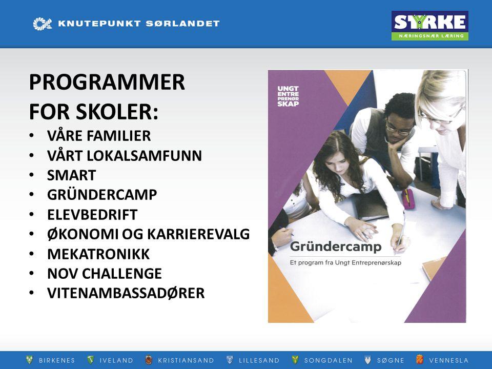 PROGRAMMER FOR SKOLER: VÅRE FAMILIER VÅRT LOKALSAMFUNN SMART