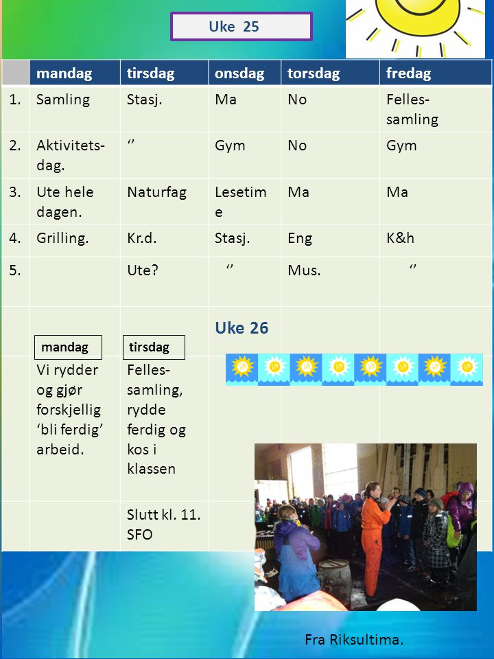 Uke 26 Uke 25 mandag tirsdag onsdag torsdag fredag 1. Samling Stasj.