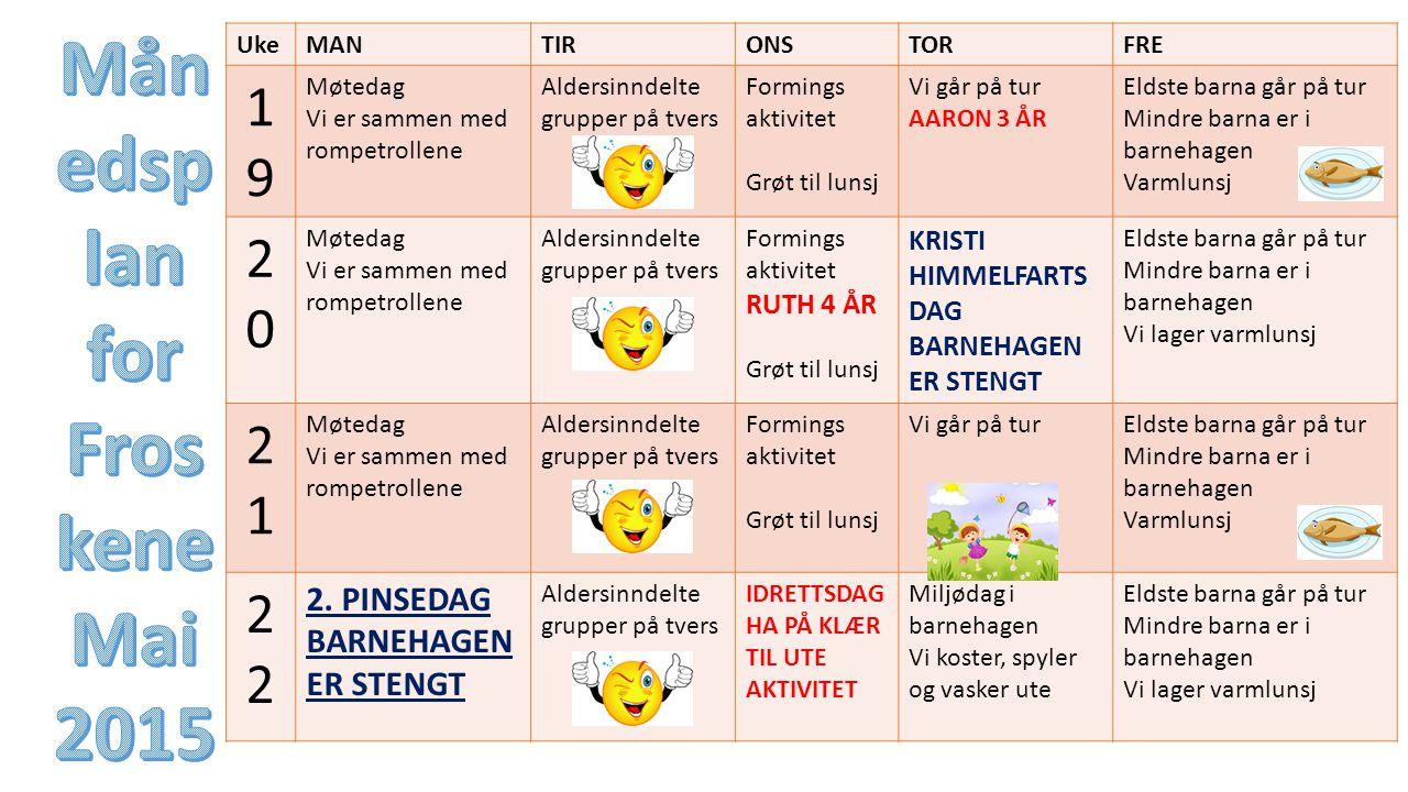 Månedsplan for Froskene Mai 2015
