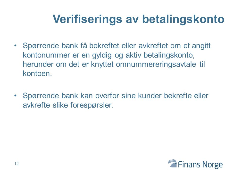 Verifiserings av betalingskonto