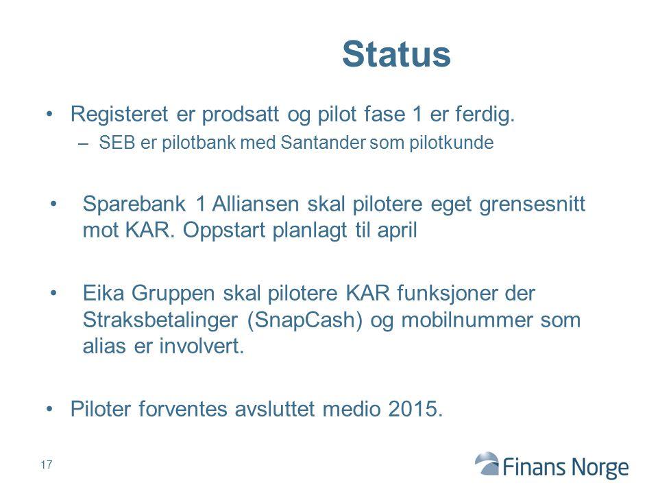 Status Registeret er prodsatt og pilot fase 1 er ferdig.