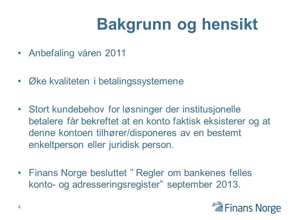 Bakgrunn og hensikt Anbefaling våren 2011
