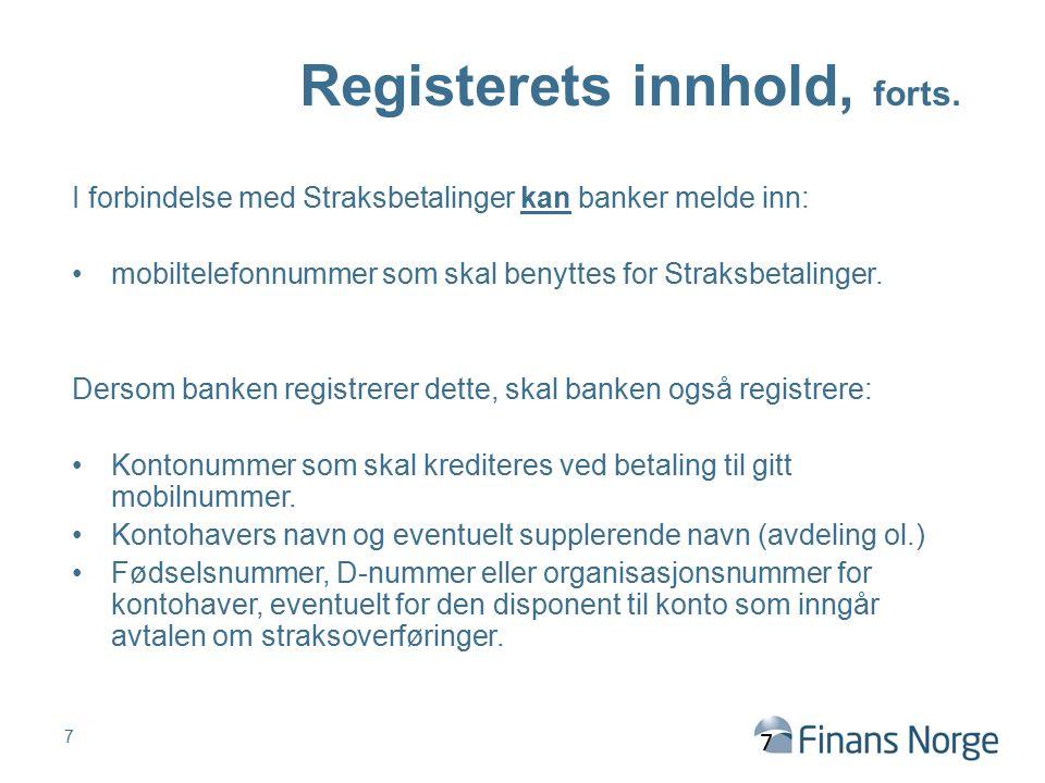 Registerets innhold, forts.
