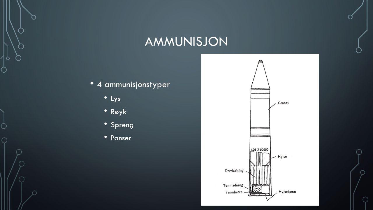 Ammunisjon 4 ammunisjonstyper Lys Røyk Spreng Panser