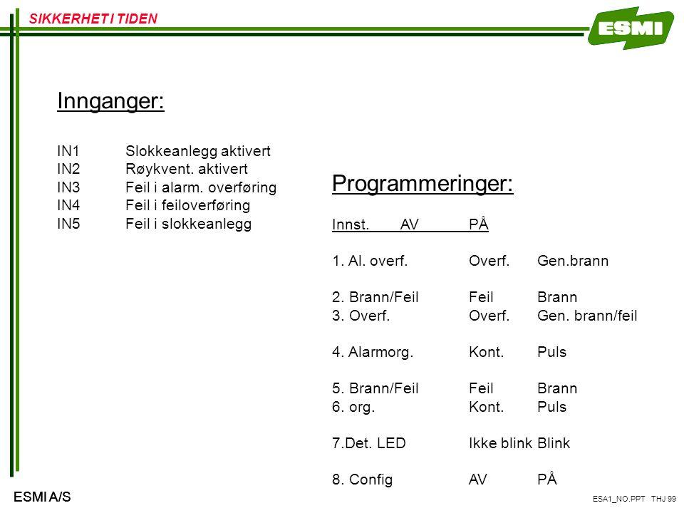Innganger: Programmeringer: IN1 Slokkeanlegg aktivert