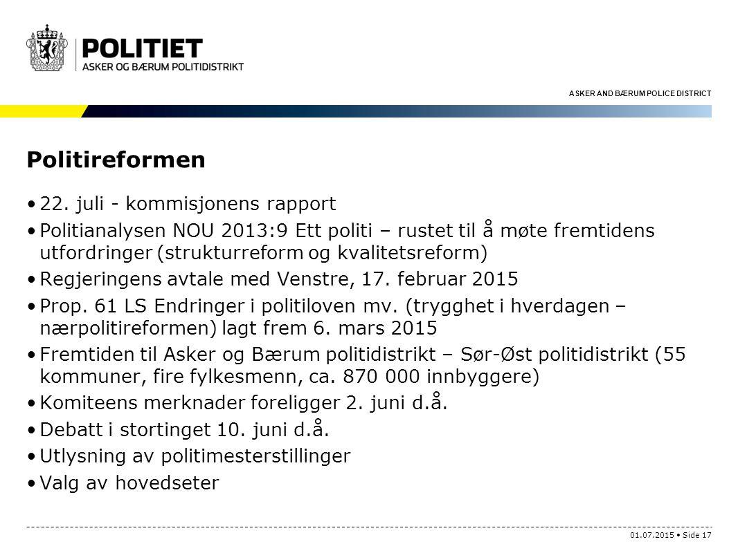 Politireformen 22. juli - kommisjonens rapport