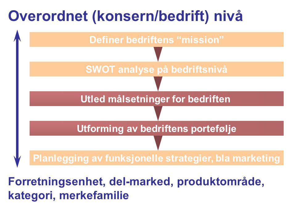 Overordnet (konsern/bedrift) nivå