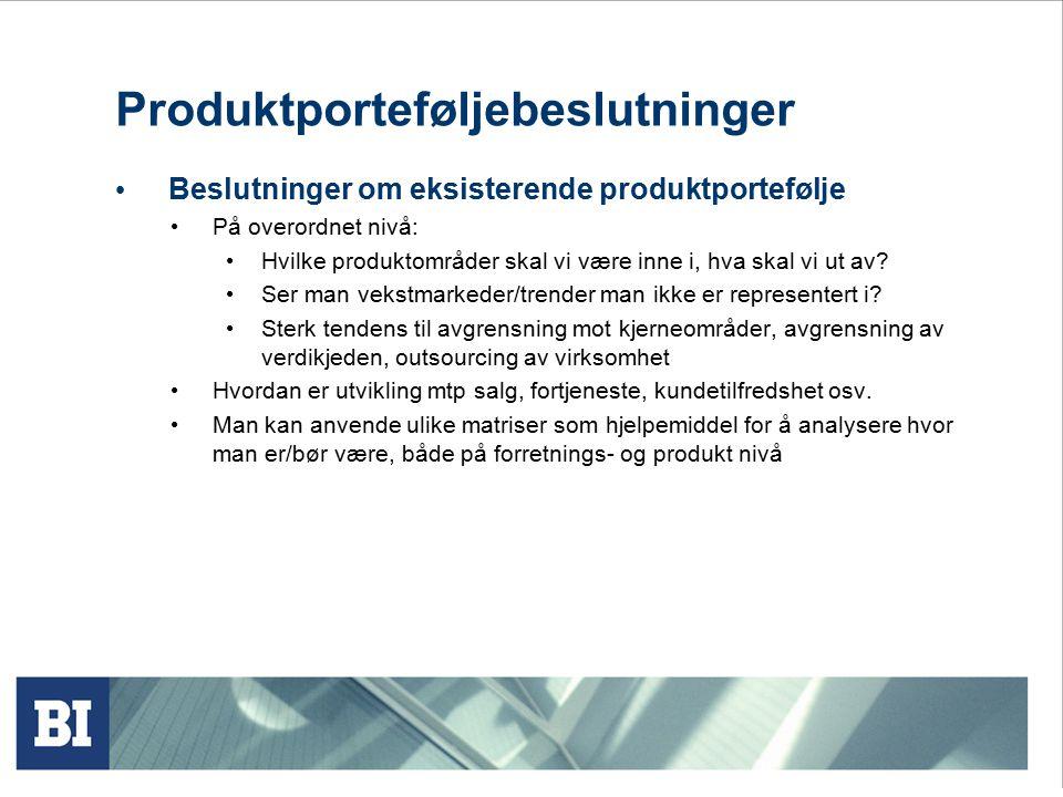 Produktporteføljebeslutninger