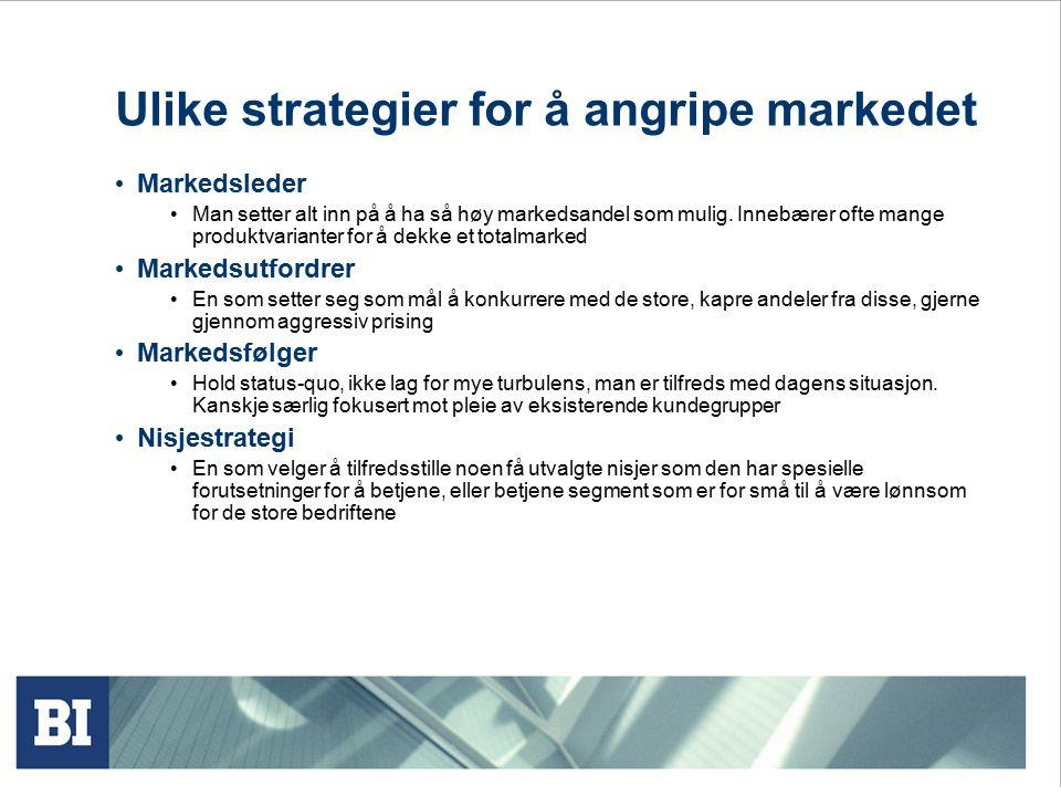 Ulike strategier for å angripe markedet