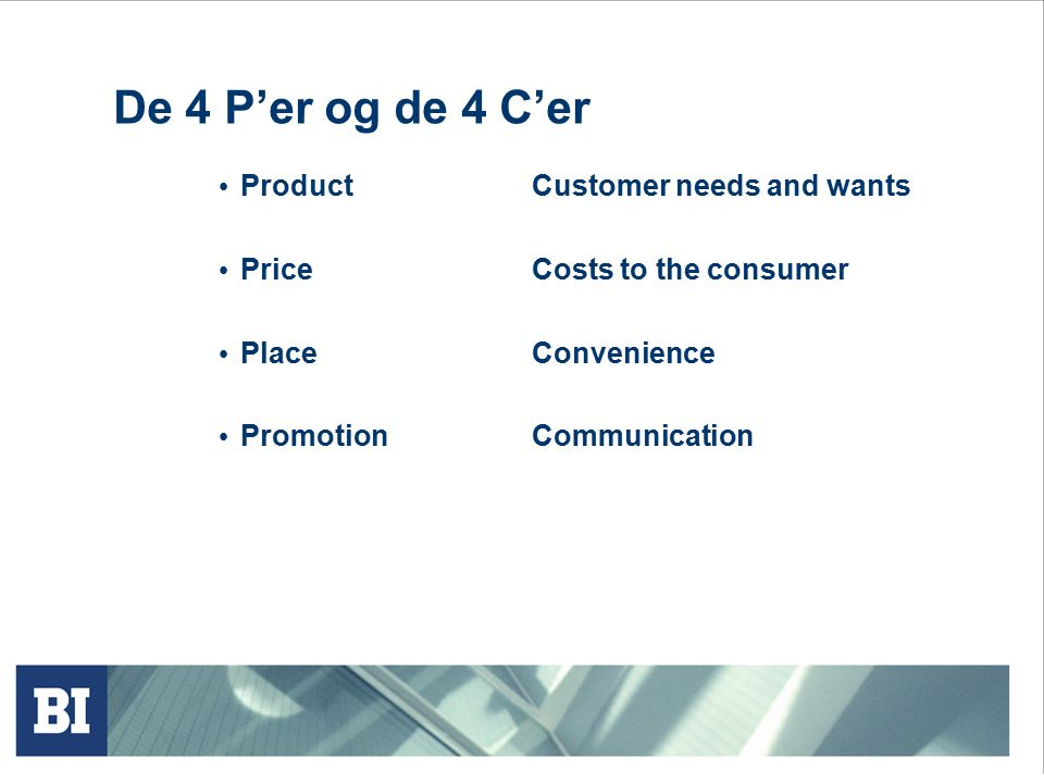 De 4 P'er og de 4 C'er Product Customer needs and wants