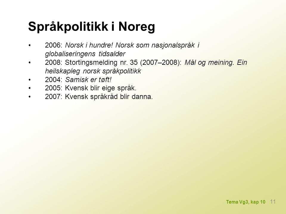 Språkpolitikk i Noreg • 2006: Norsk i hundre! Norsk som nasjonalspråk i globaliseringens tidsalder.
