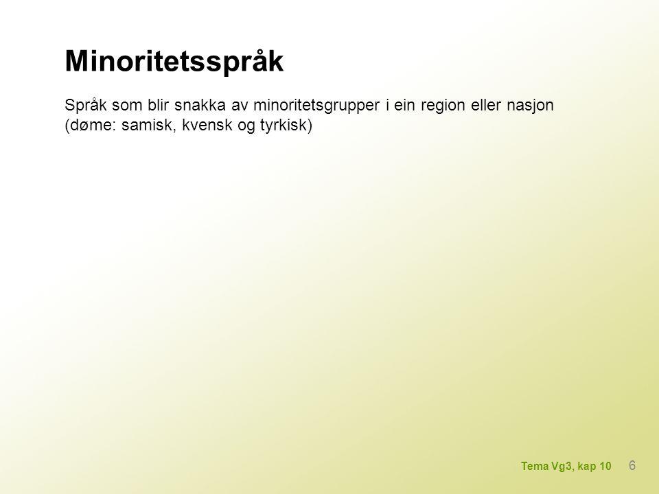 Minoritetsspråk Språk som blir snakka av minoritetsgrupper i ein region eller nasjon (døme: samisk, kvensk og tyrkisk)