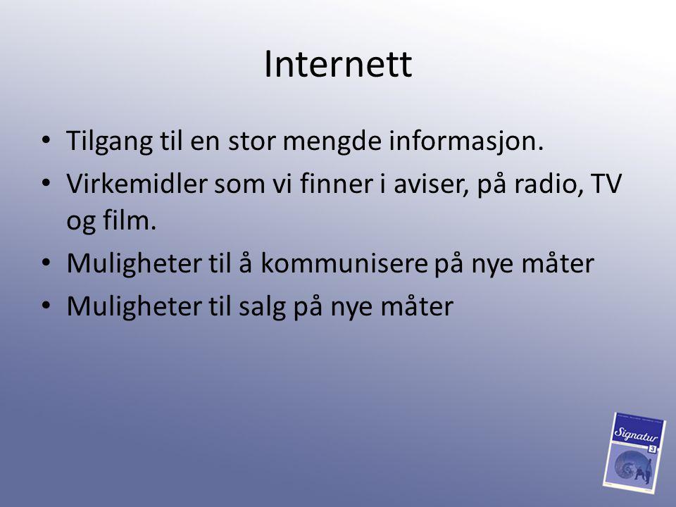Internett Tilgang til en stor mengde informasjon.
