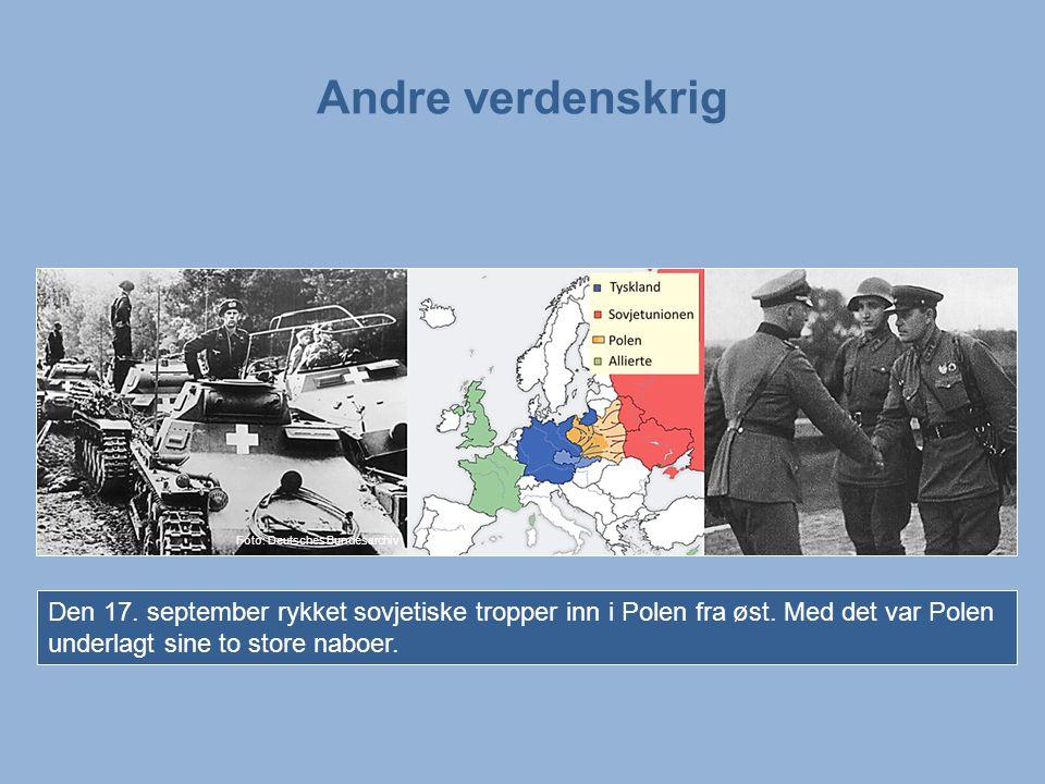 Andre verdenskrig Bilder: Tyske stridsvogner rykker fram i Polen. En tysk og en sovjetisk offiser hilser på hverandre etter at invasjonen er over.