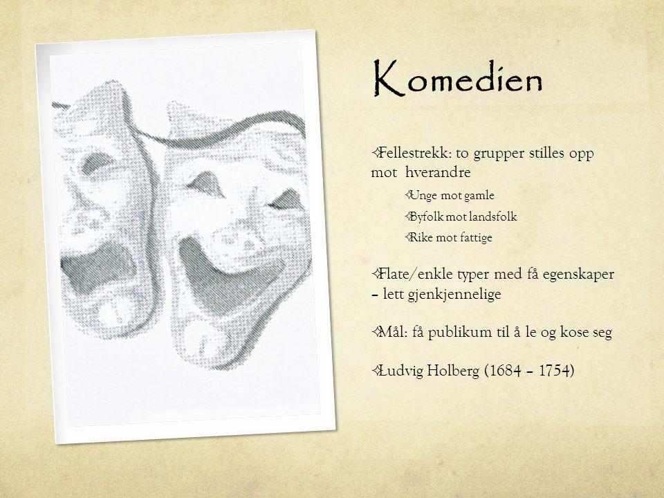 Komedien Fellestrekk: to grupper stilles opp mot hverandre