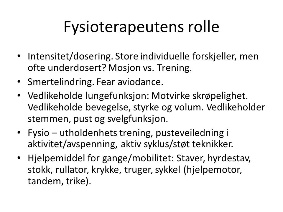 Fysioterapeutens rolle