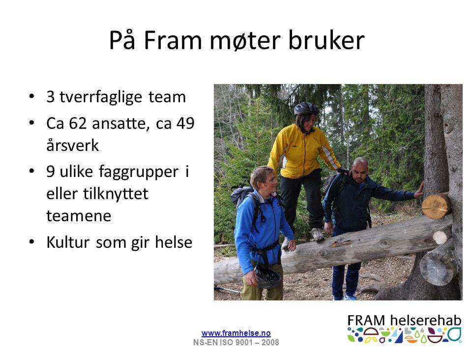 På Fram møter bruker 3 tverrfaglige team Ca 62 ansatte, ca 49 årsverk