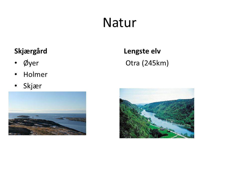 Natur Skjærgård Lengste elv Øyer Holmer Skjær Otra (245km)