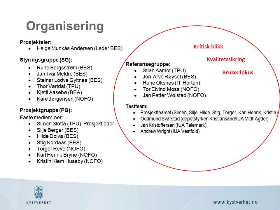 Organisering Kritisk blikk Kvalitetssikring Brukerfokus