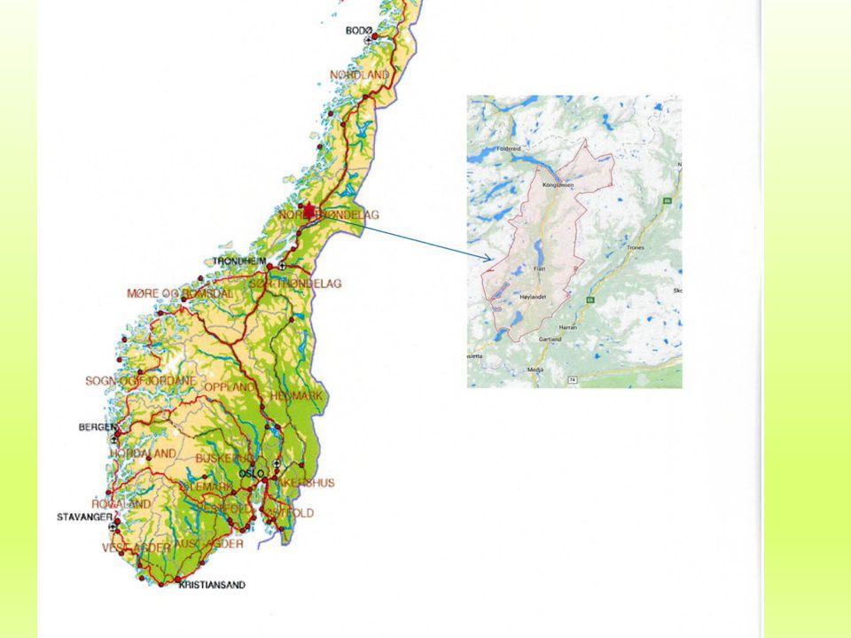 1260 innbyggere – ca. 750 km2 Ca. 5.5 mil lengde på kommunen.