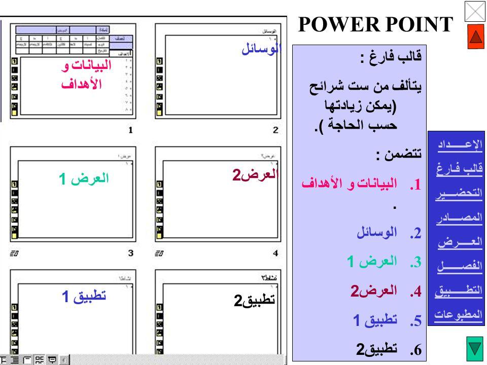 POWER POINT الوسائل قالب فارغ : البيانات و الأهداف
