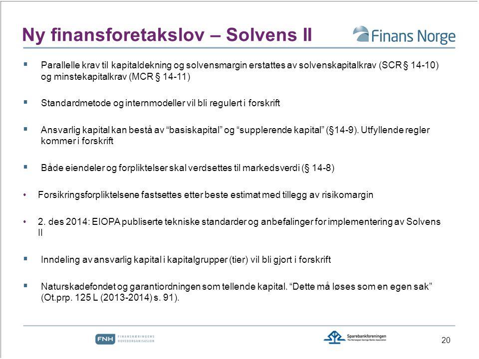 Ny finansforetakslov – Solvens II