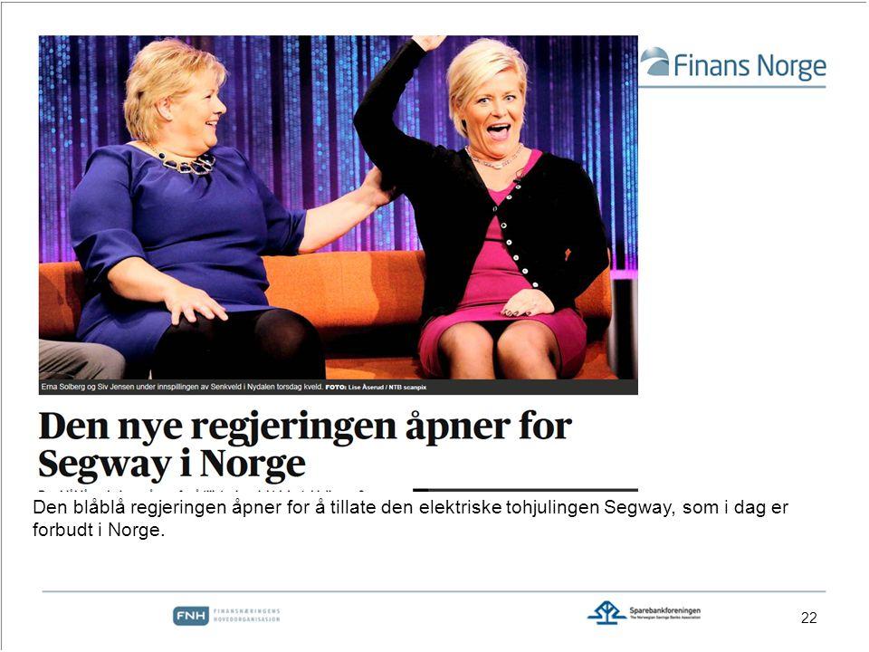 Den blåblå regjeringen åpner for å tillate den elektriske tohjulingen Segway, som i dag er forbudt i Norge.