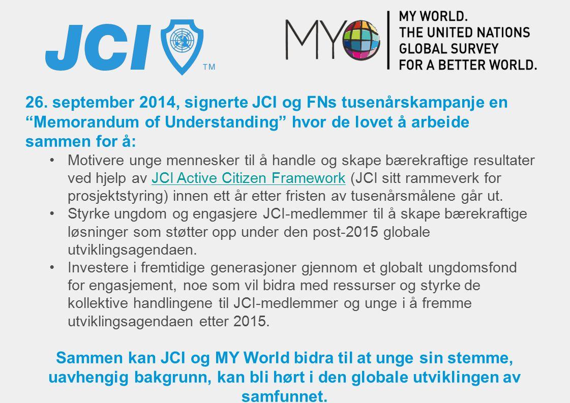26. september 2014, signerte JCI og FNs tusenårskampanje en Memorandum of Understanding hvor de lovet å arbeide sammen for å: