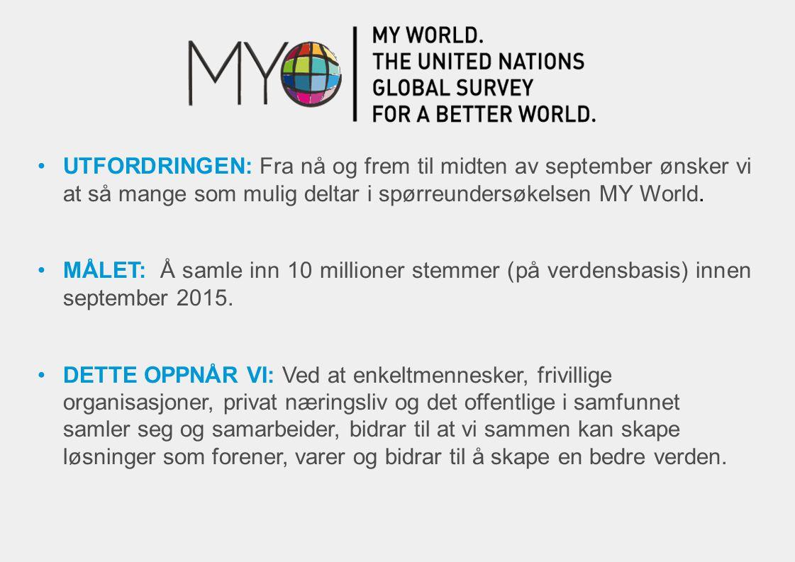 UTFORDRINGEN: Fra nå og frem til midten av september ønsker vi at så mange som mulig deltar i spørreundersøkelsen MY World.