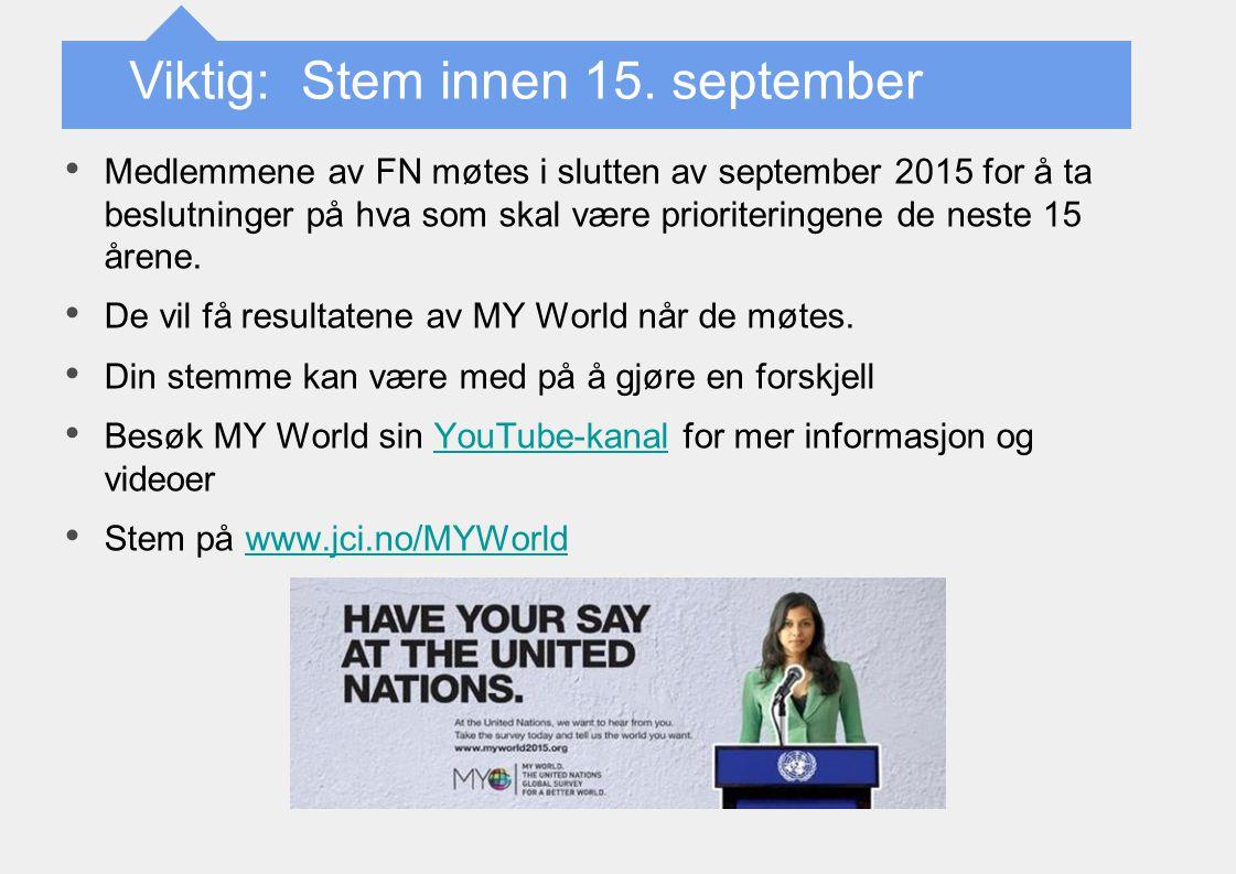 Viktig: Stem innen 15. september