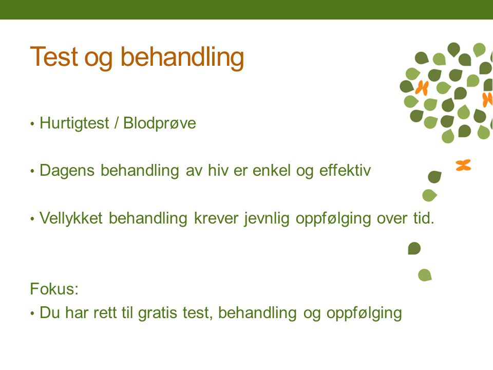 Test og behandling Hurtigtest / Blodprøve