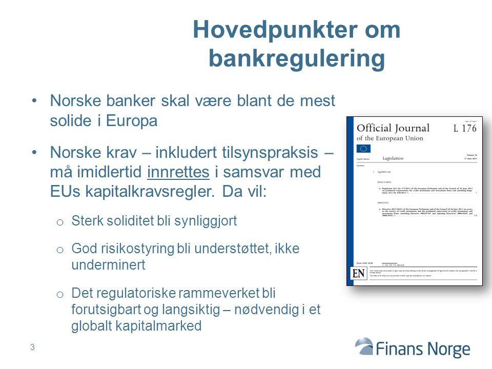 Hovedpunkter om bankregulering