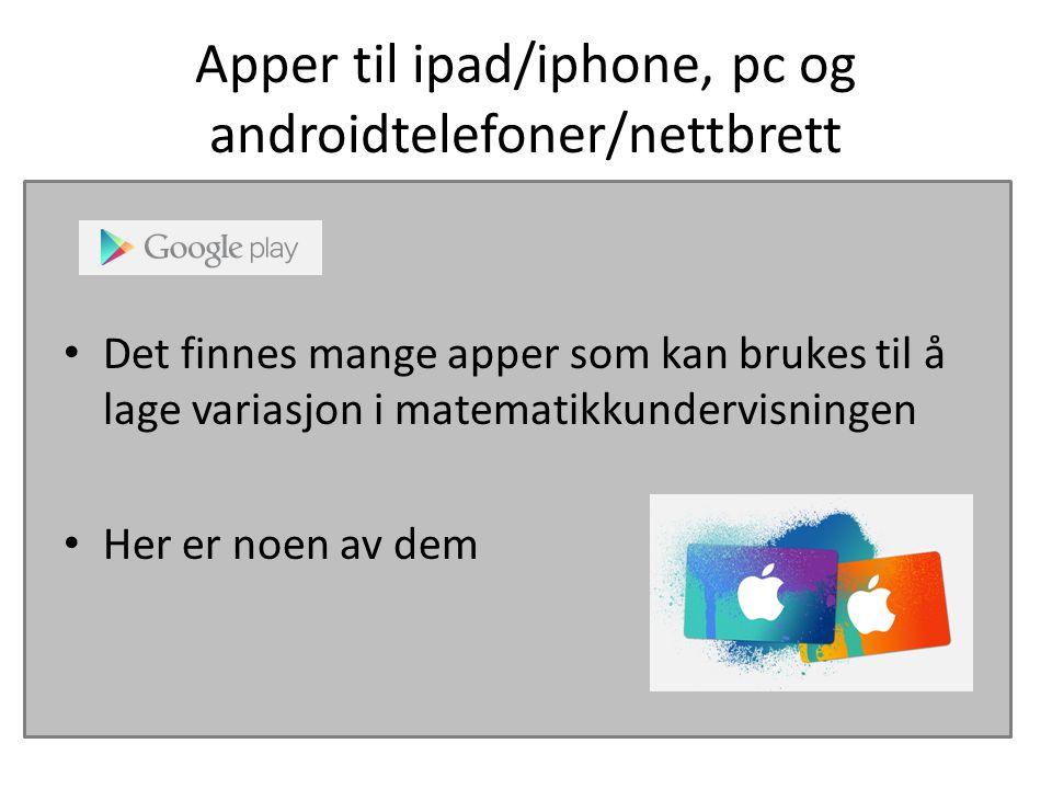 Apper til ipad/iphone, pc og androidtelefoner/nettbrett