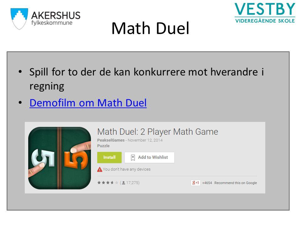 Math Duel Spill for to der de kan konkurrere mot hverandre i regning