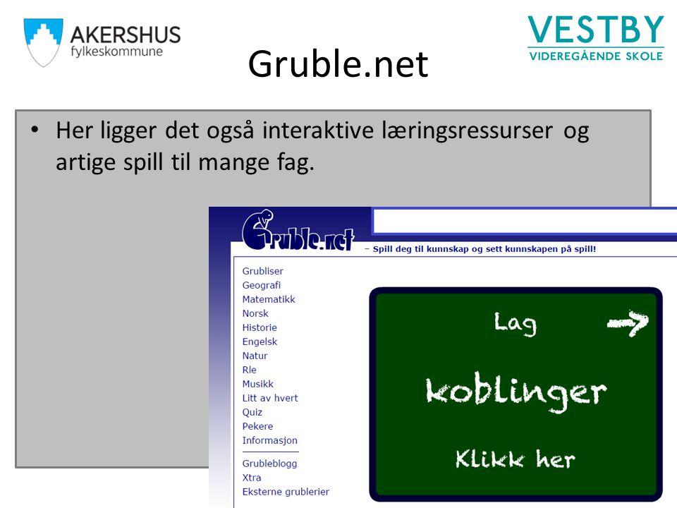 Gruble.net Her ligger det også interaktive læringsressurser og artige spill til mange fag.