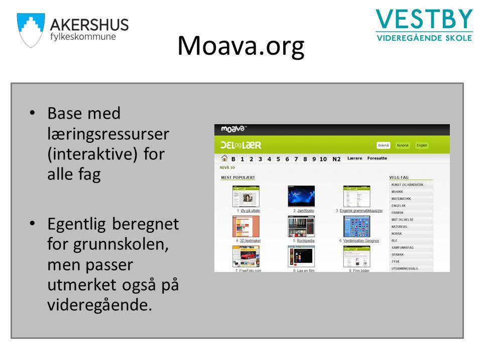 Moava.org Base med læringsressurser (interaktive) for alle fag