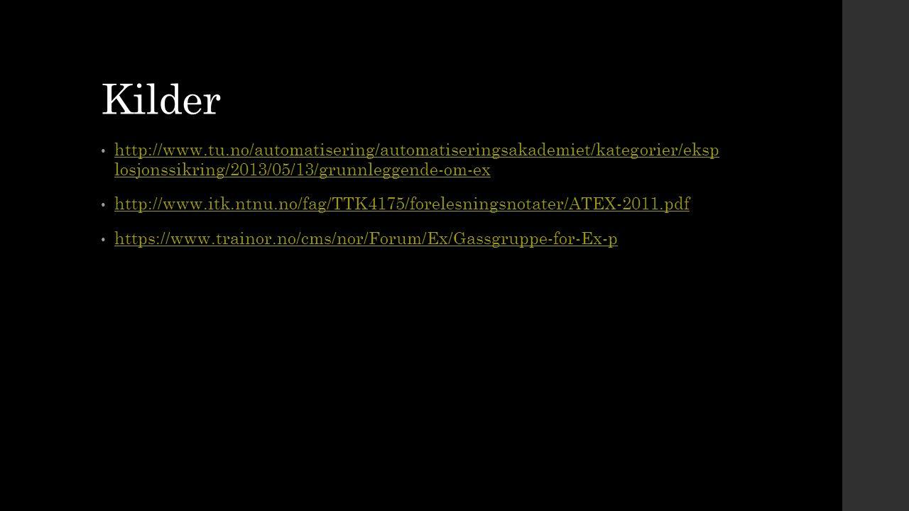 Kilder http://www.tu.no/automatisering/automatiseringsakademiet/kategorier/eksp losjonssikring/2013/05/13/grunnleggende-om-ex.