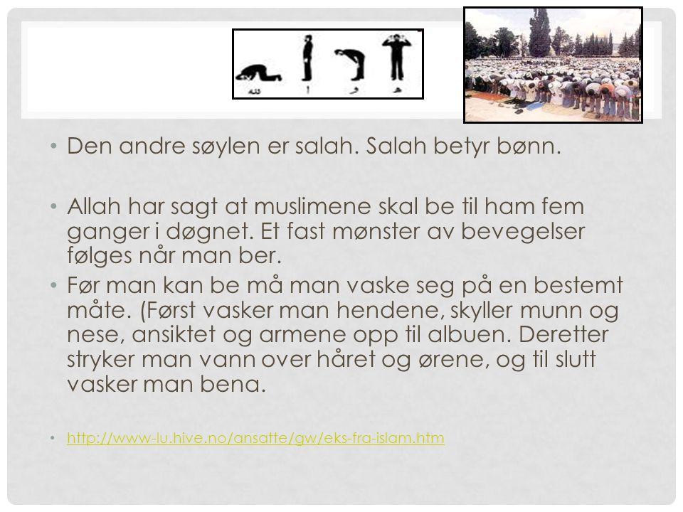 2. Salah Den andre søylen er salah. Salah betyr bønn.