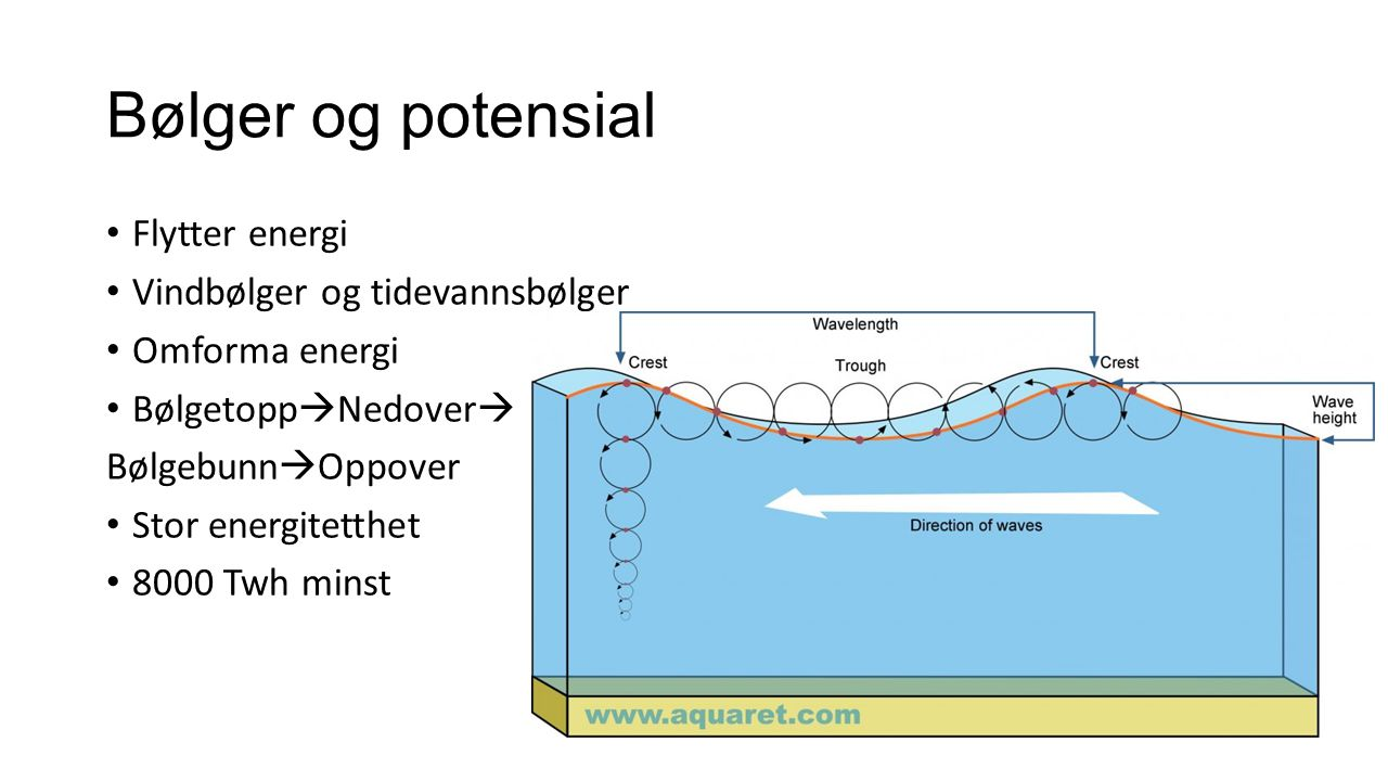 Bølger og potensial Flytter energi Vindbølger og tidevannsbølger