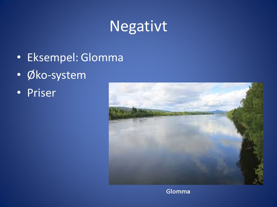 Negativt Eksempel: Glomma Øko-system Priser Glomma
