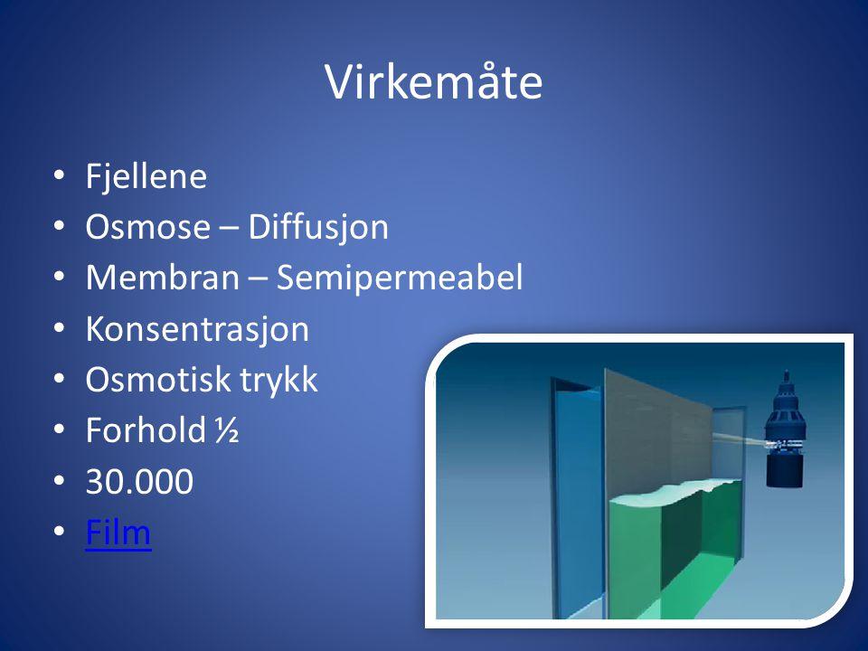 Virkemåte Fjellene Osmose – Diffusjon Membran – Semipermeabel