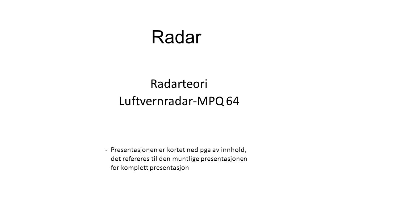 Radar Radarteori Luftvernradar-MPQ 64