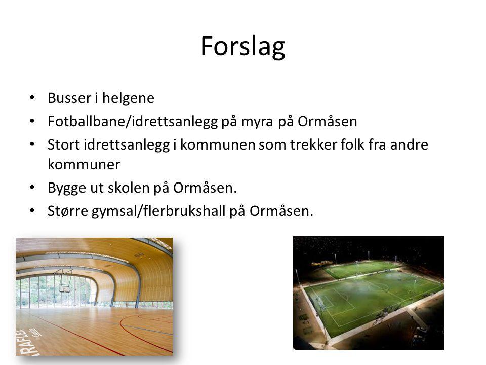 Forslag Busser i helgene Fotballbane/idrettsanlegg på myra på Ormåsen