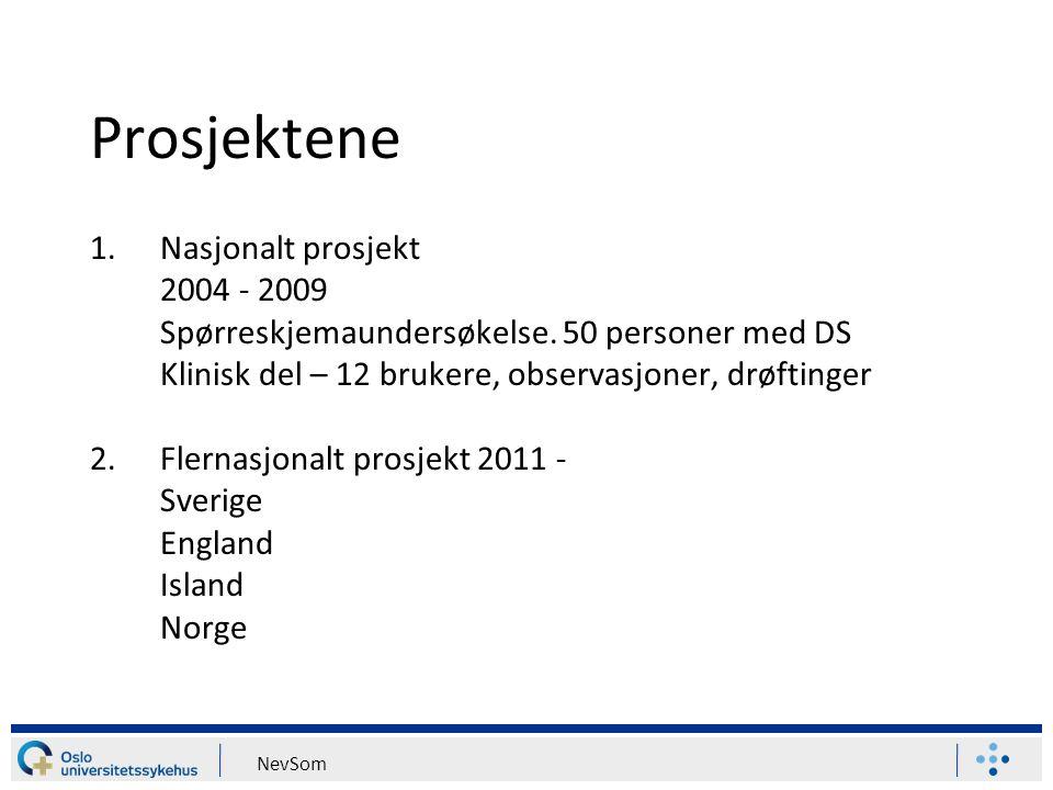 Prosjektene Nasjonalt prosjekt 2004 - 2009