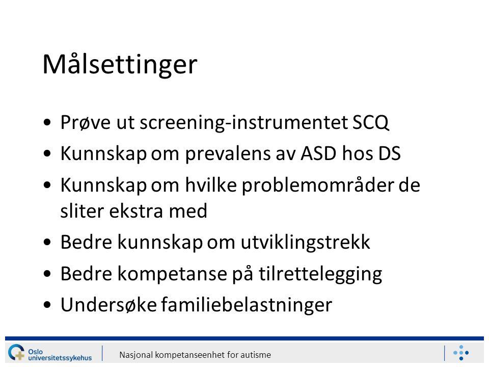 Målsettinger Prøve ut screening-instrumentet SCQ
