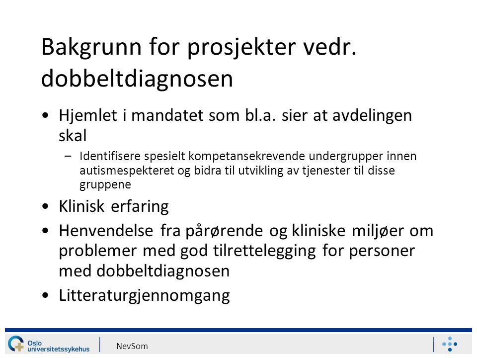 Bakgrunn for prosjekter vedr. dobbeltdiagnosen