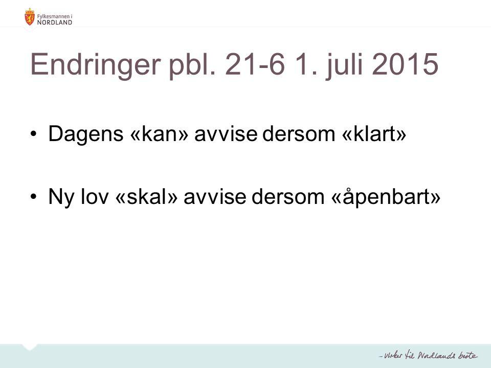 Endringer pbl. 21-6 1. juli 2015 Dagens «kan» avvise dersom «klart»